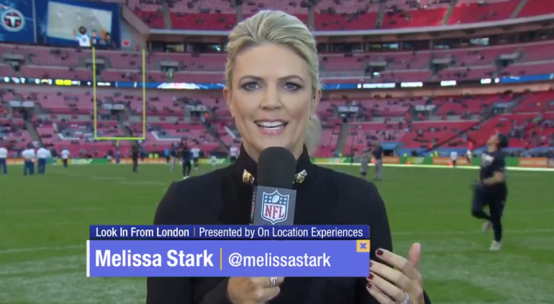 Melissa Stark Takes Football To the Head on Live TV