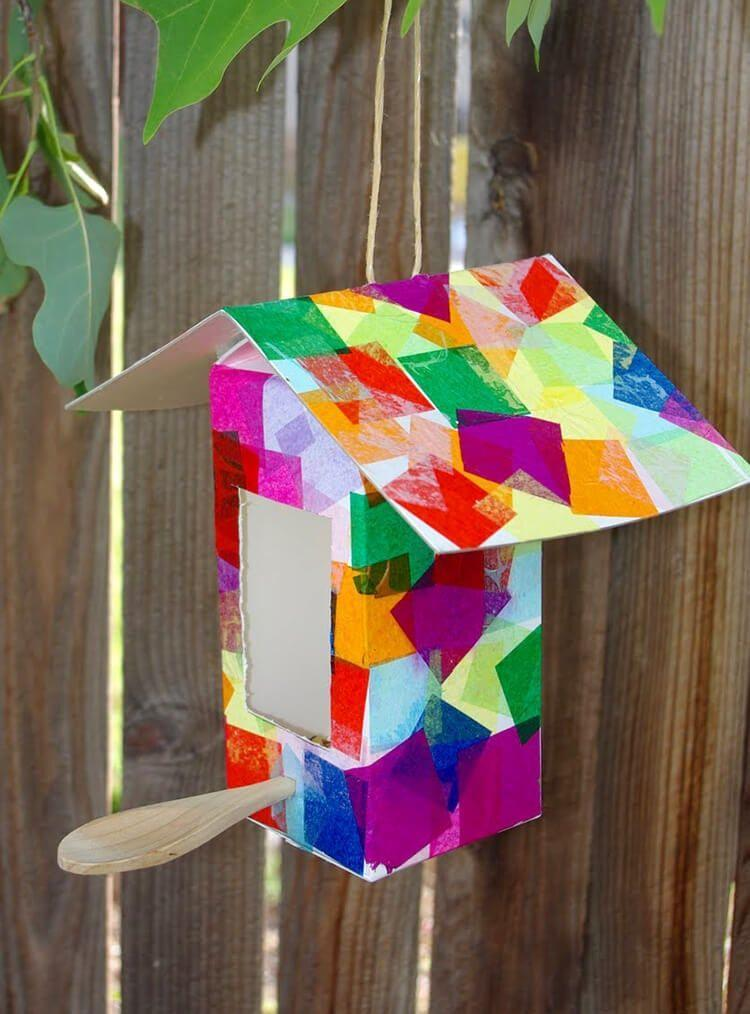 """<p>For the nature-loving mom, encourage more birds in the backyard with this easy Mother's Day craft for kids. </p><p><strong>Get the tutorial at <a href=""""https://www.happinessishomemade.net/collage-birdhouses/"""" rel=""""nofollow noopener"""" target=""""_blank"""" data-ylk=""""slk:Happiness Is Homemade"""" class=""""link rapid-noclick-resp"""">Happiness Is Homemade</a>. </strong></p><p><strong><a class=""""link rapid-noclick-resp"""" href=""""https://www.amazon.com/Exquiss-Colors-Tissue-Squares-Scrunch/dp/B07PBDMC4F/?tag=syn-yahoo-20&ascsubtag=%5Bartid%7C10050.g.4233%5Bsrc%7Cyahoo-us"""" rel=""""nofollow noopener"""" target=""""_blank"""" data-ylk=""""slk:SHOP TISSUE PAPER SQUARES"""">SHOP TISSUE PAPER SQUARES</a><br></strong></p>"""