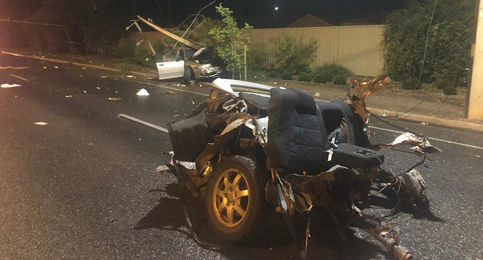 The back seat of the car that crashed in Adelaide.
