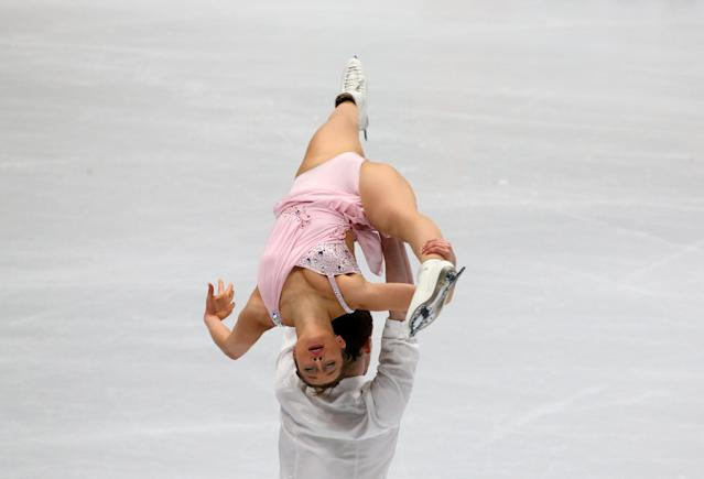 Figure Skating - World Figure Skating Championships - The Mediolanum Forum, Milan, Italy - March 21, 2018 France's Lola Esbrat and Andrei Novoselov during the Pairs Short Programme REUTERS/Alessandro Bianchi
