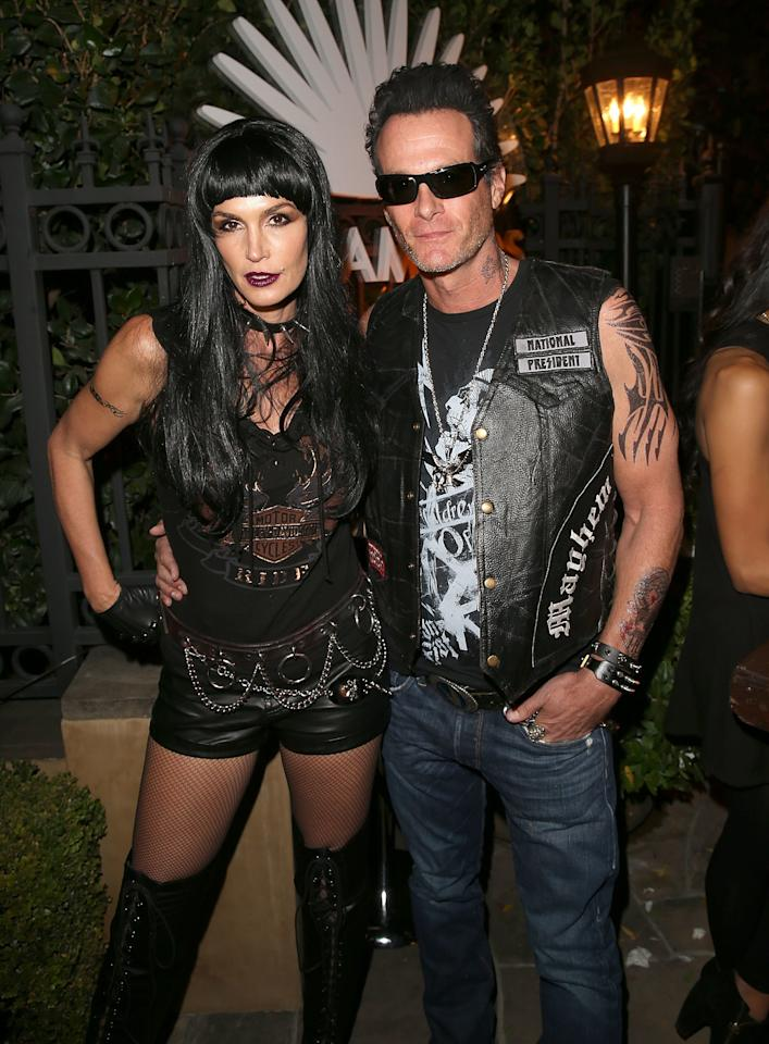 """Proof <a href=""""http://www.glamour.com/about/cindy-crawford?mbid=synd_yahoo_rss"""">Cindy Crawford</a> can rock just about anything: her biker costume with husband Rande Gerber."""
