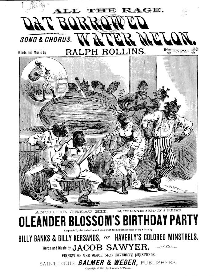 "The sheet music for an 1881 song called ""Dat Borrowed Watermelon"" depicts the ""happy darkie concept of a person who just loves watermelon,"" as Williams-Forson explains it. (Photo: Library of Congress)"