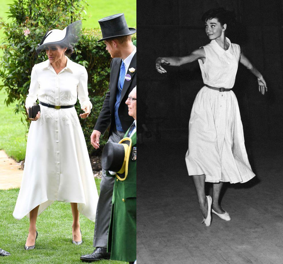 "<p>Here, Meghan wears a <a rel=""nofollow"" href=""https://www.elle.com/uk/fashion/celebrity-style/a21612289/meghan-markle-royal-ascot-givenchy/"">belted Givenchy dress to the Royal Ascot</a>. The swingy skirt and nipped waist bears a striking similarity to the dress Audrey wore while learning the gavotte in Rome, with both looks sharing an arrowhead collar and button-down detail.</p>"