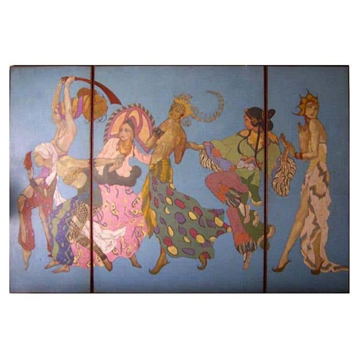 "$180000, 1stDibs. <a href=""https://www.1stdibs.com/furniture/wall-decorations/paintings/incredible-oversized-art-deco-triptych-panel-ballet-russe/id-f_271207/"" rel=""nofollow noopener"" target=""_blank"" data-ylk=""slk:Get it now!"" class=""link rapid-noclick-resp"">Get it now!</a>"