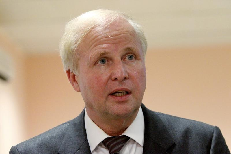 Group Chief Executive of BP Dudley speaks during a news conference in Basra