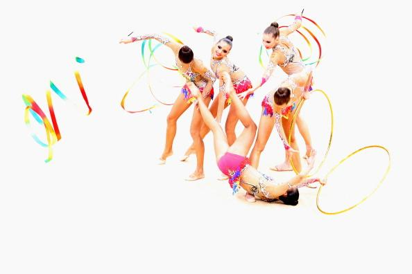 LONDON, ENGLAND - AUGUST 12:  Russia perform during the Group All-Around Rhythmic Gymnastics Final Rotation 2 on Day 16 of the London 2012 Olympic Games at Wembley Arena on August 12, 2012 in London, England.  (Photo by Ronald Martinez/Getty Images)