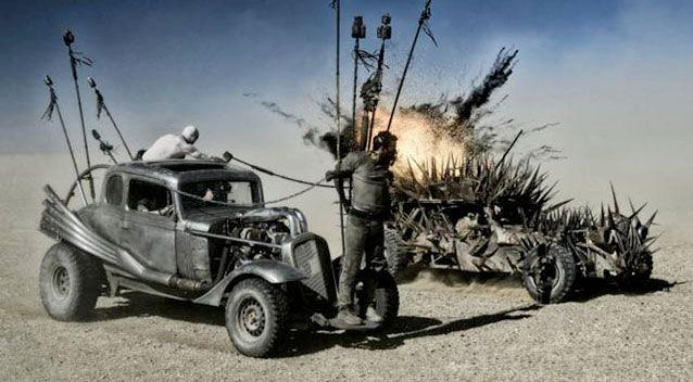 The rusted bomb cars have been compared to something out of Mad Max. Source: Warner Bros