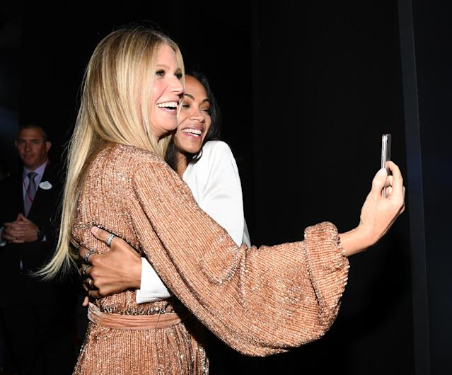 Zoe Saldana and Gwyneth Paltrow join in the fun. (Getty Images)
