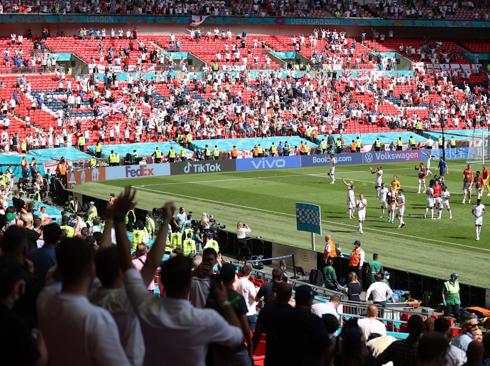 England fans salute their players on a 1-0 win (Getty Images)