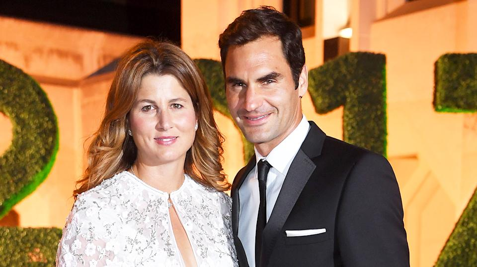 Roger Federer (pictured right) shares a photo with his wife Mirka (pictured left).