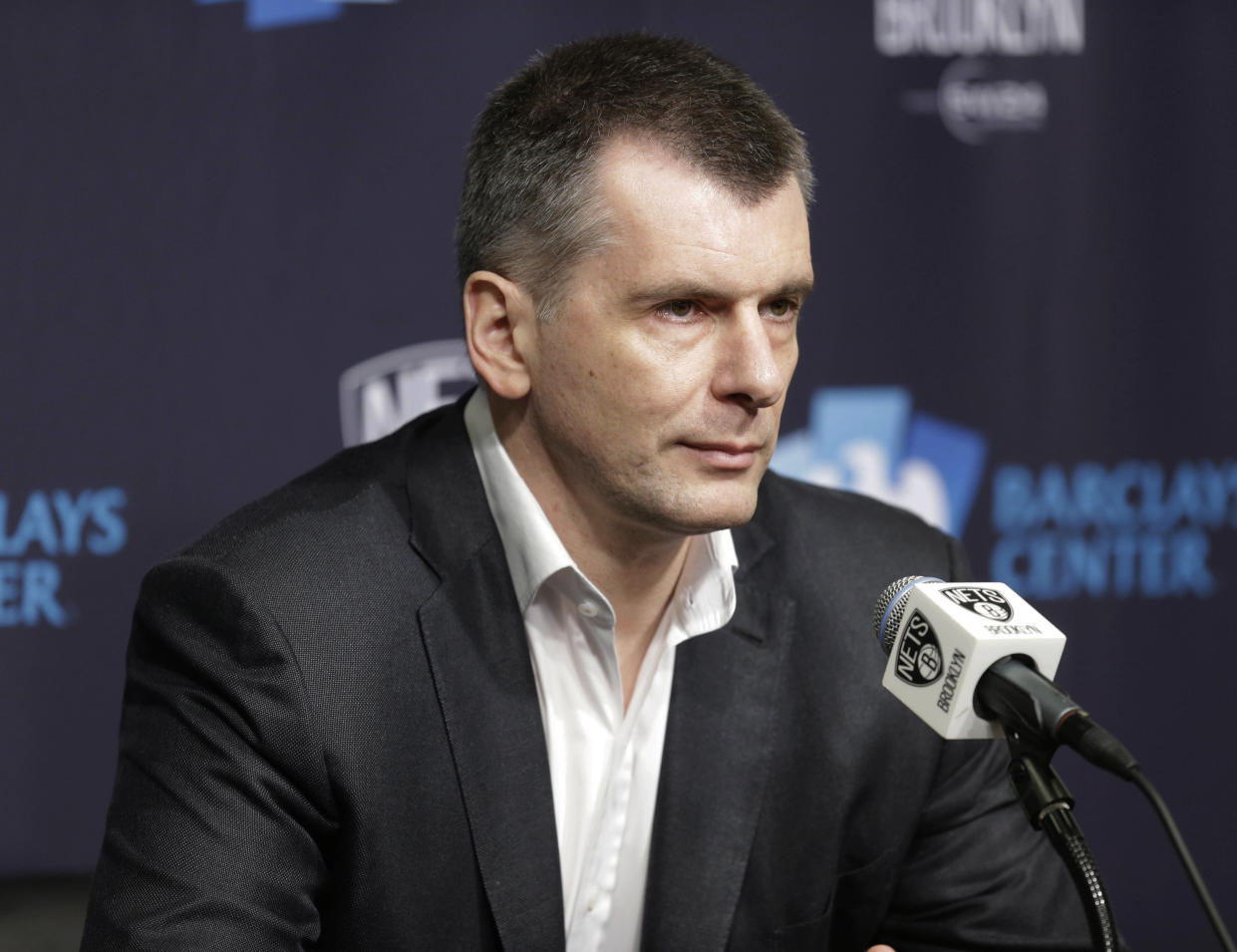 Brooklyn Nets owner Mikhail Prokhorov speaks during an NBA basketball news conference in New York in 2016. (Photo: Seth Wenig/AP)