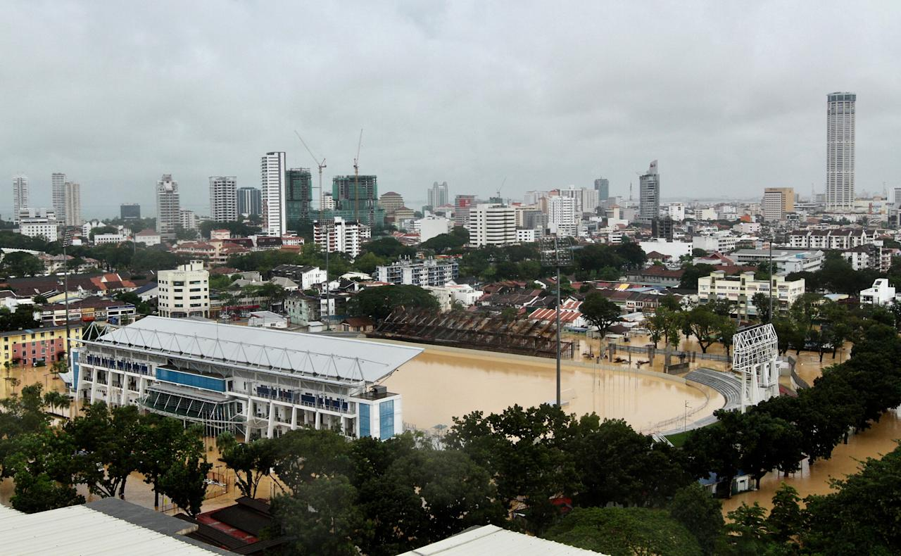 <p>An aerial view shows a flooded stadium in George Town, Penang, Malaysia November 4, 2017. Picture taken November 4, 2017. Photo: Reuters </p>