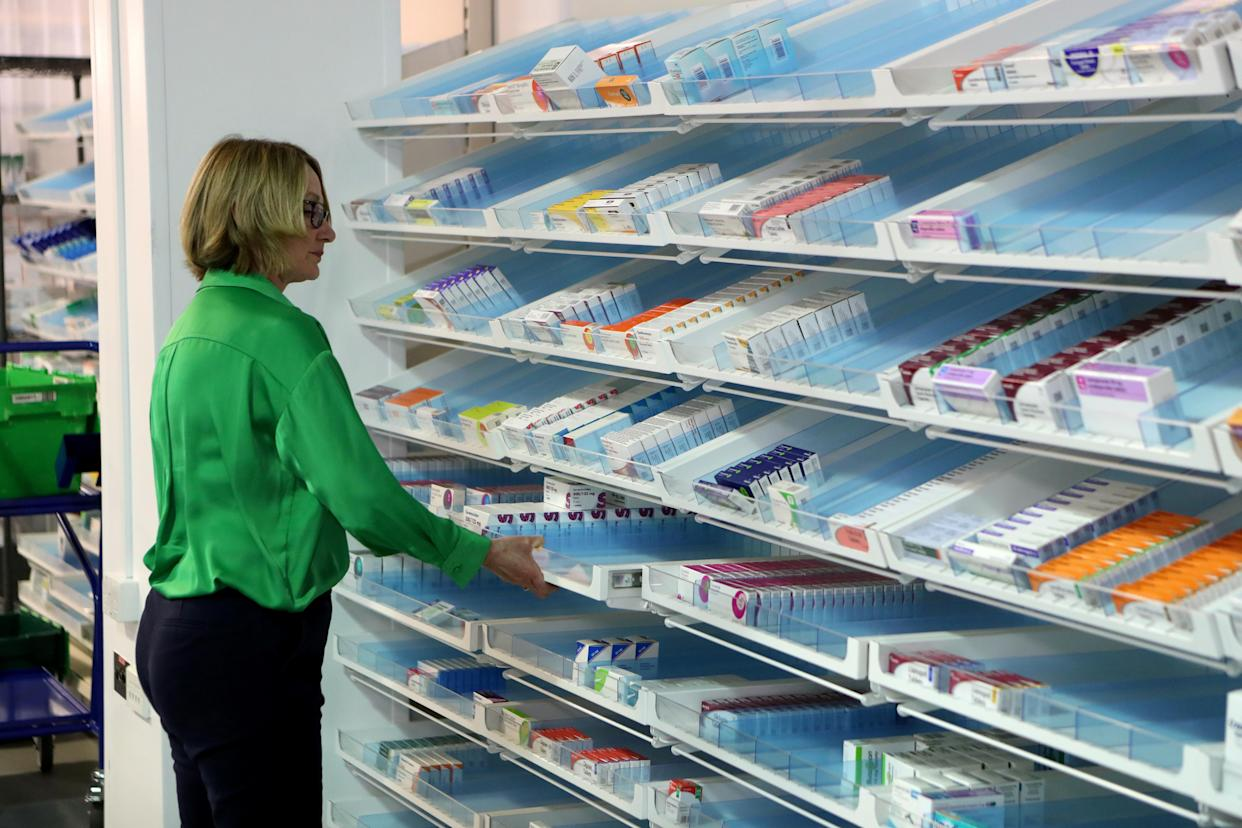 The amount the NHS had to pay for a single pack of 10mg tablets rose from 70p in April 2008 to £88.00 by March 2016. Above, an NHS staff member at the pharmacy inside the NHS Louisa Jordan Hospital at the Scottish Events Campus (SEC) in Glasgow, Scotland. Photo: Russell Cheyne/Reuters