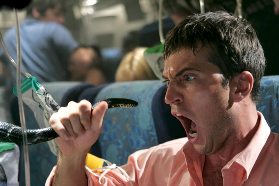 Tygh Runyan is one of the snake-afflicted passengers in Snakes on a Plane (Photo: New Line Cinema / Courtesy: Everett Collection)