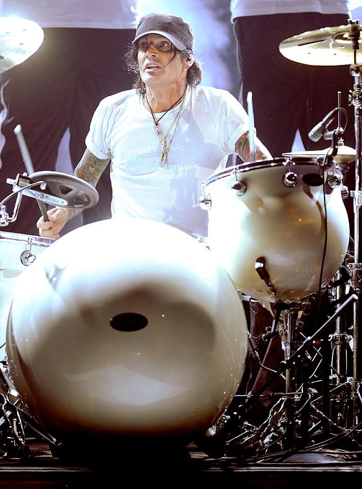 """Tommy Lee worked up a sweat while backing Ludacris during his performance of """"My Chick Bad."""" Michael Caulfield/<a href=""""http://www.wireimage.com"""" target=""""new"""">WireImage.com</a> - June 27, 2010"""