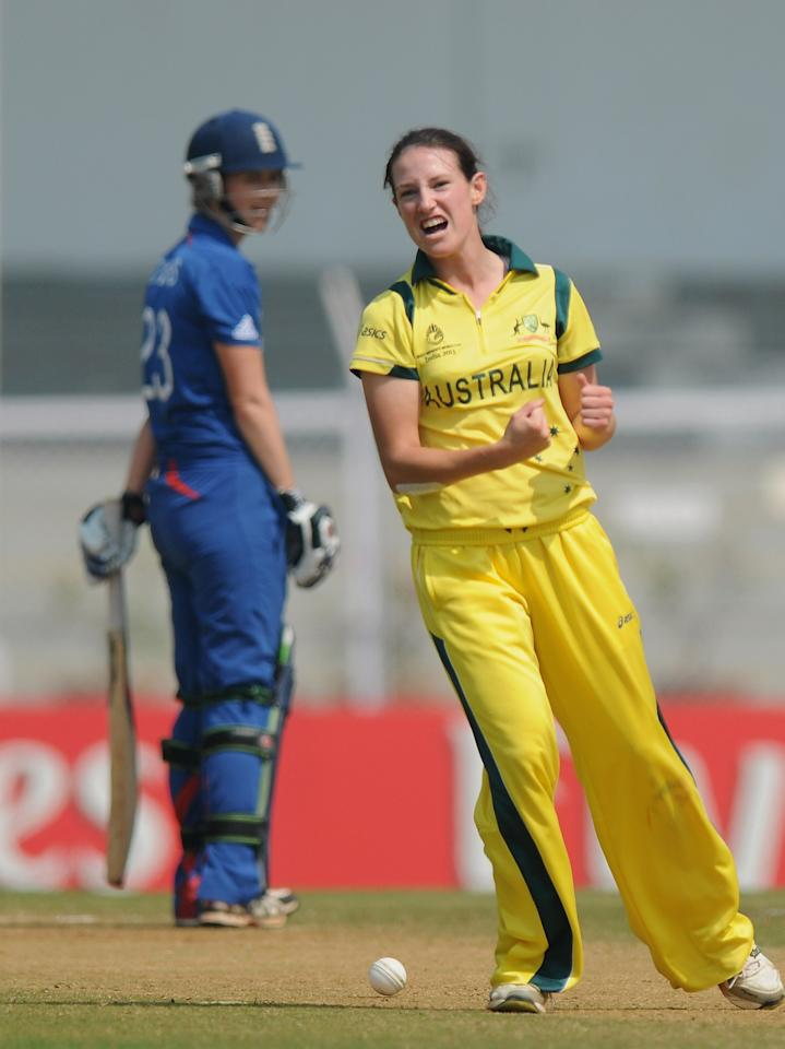 MUMBAI, INDIA - FEBRUARY 08:  Megan Schutt of Australia celebrates the wicket of Charlotte Edwards captain of Egnland during the super six match  between England and Australia held at the CCI (Cricket Club of India)  on February 8, 2013 in Mumbai, India.  (Photo by Pal Pillai/Getty Images)