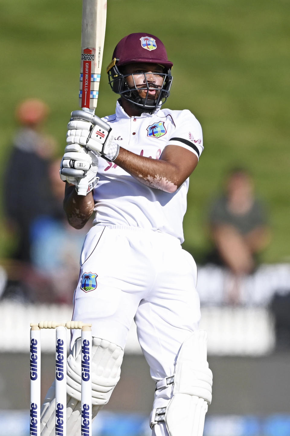 West Indies opener John Campbell bats during play on day two of the first cricket test between the West Indies and New Zealand in Hamilton, New Zealand, Friday, Dec. 4, 2020. (Andrew Cornaga/Photosport via AP)