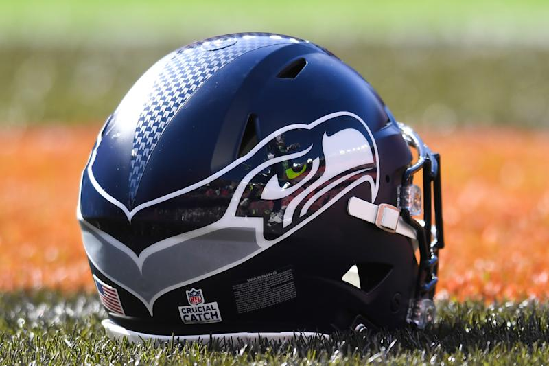 A Seattle Seahawks helmet on the field.