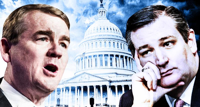 Michael Bennet and Ted Cruz. (Yahoo News photo Illustration; photos: AP, Getty Images)