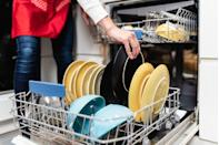 "<p>If you'd like to keep things au natural, you can clean your dishwasher with products you probably already own. Add two cups of <a href=""https://go.redirectingat.com?id=74968X1596630&url=https%3A%2F%2Fwww.walmart.com%2Fip%2FGreat-Value-Distilled-White-Vinegar-64-oz-2-Pack%2F47229285&sref=https%3A%2F%2Fwww.delish.com%2Fkitchen-tools%2Fcookware-reviews%2Fg33584458%2Fhow-to-clean-the-dishwasher%2F"" rel=""nofollow noopener"" target=""_blank"" data-ylk=""slk:distilled white vinegar"" class=""link rapid-noclick-resp"">distilled white vinegar</a> and run your empty washing machine on a regular cycle. Afterwards, run a short cycle of hot water, only adding <a href=""https://www.amazon.com/Arm-Hammer-Baking-Soda-64/dp/B00LO1XXQW/?tag=syn-yahoo-20&ascsubtag=%5Bartid%7C1782.g.33584458%5Bsrc%7Cyahoo-us"" rel=""nofollow noopener"" target=""_blank"" data-ylk=""slk:a cup of baking soda"" class=""link rapid-noclick-resp"">a cup of baking soda</a>. This will prevent stains, and keep your dishwasher smelling nice and clean!</p>"