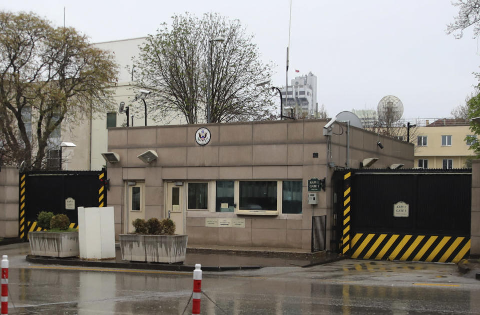 """A view of the United States embassy in Ankara, Turkey, Sunday, April 25, 2021. Turkey's foreign ministry has summoned the U.S. Ambassador in Ankara to protest the U.S. decision to mark the deportation and killing of Armenians during the Ottoman Empire as """"genocide."""" On Saturday, U.S. President Joe Biden followed through on a campaign promise to recognize the events that began in 1915 and killed an estimated 1.5 million Ottoman Armenians as genocide. (AP Photo/Burhan Ozbilici)"""