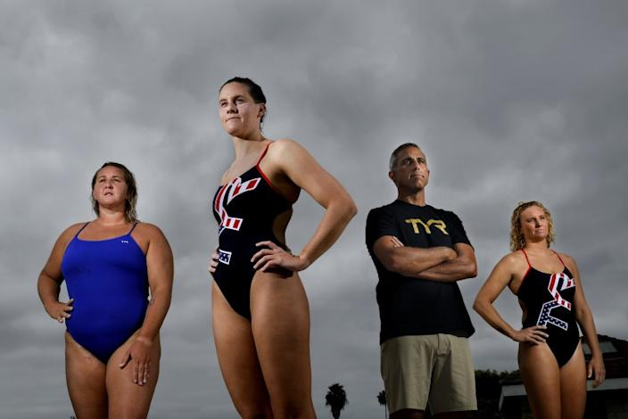 "U.S. women's water polo team members Melissa Seidemann, left, Alys Williams, coach Adam Krikorian, and Kaleigh Gilchrist. <span class=""copyright"">(Christina House/Los Angeles Times)</span>"