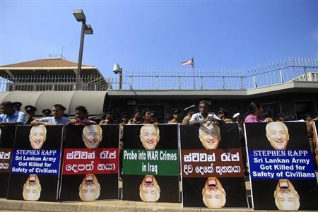 Members of the FNO gather in front of the U.S. Embassy during a protest in Colombo