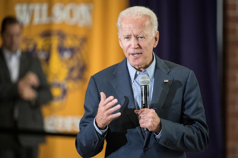 FLORENCE, SC - OCTOBER 26: Democratic presidential candidate, former vice President Joe Biden addresses a crowd at Wilson High School on October 26, 2019 in Florence, South Carolina. Many presidential hopefuls campaigned in the early primary state over the weekend, scheduling stops around a criminal justice forum in the state capital. (Photo by Sean Rayford/Getty Images)