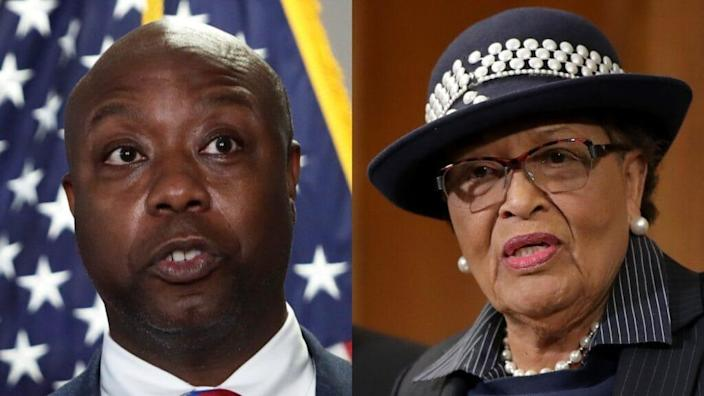 A bipartisan bill co-sponsored by South Carolina Sen. Tim Scott (left) and North Carolina Rep. Alma Adams (right) directs money to renovate and modernize buildings at over 100 of the nation's historic Black colleges and universities. (Photos by Alex Wong/Getty Images and Chip Somodevilla/Getty Images)