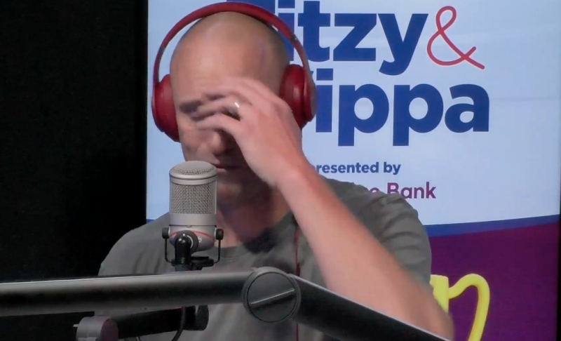 Fitzy crying on the Fitzy and Wippa show