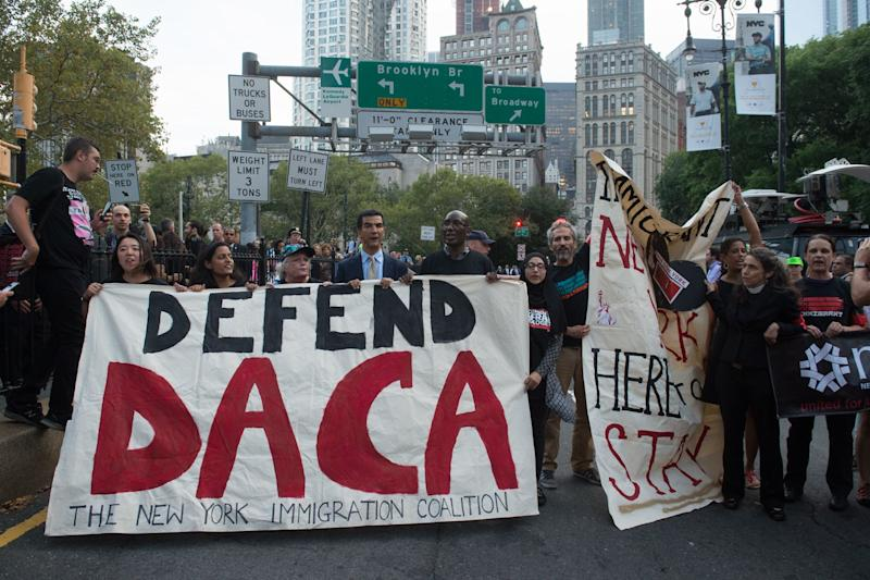 Supporters of the Deferred Action for Childhood Arrivals program rally in New York earlier this month. (BRYAN R. SMITH via Getty Images)