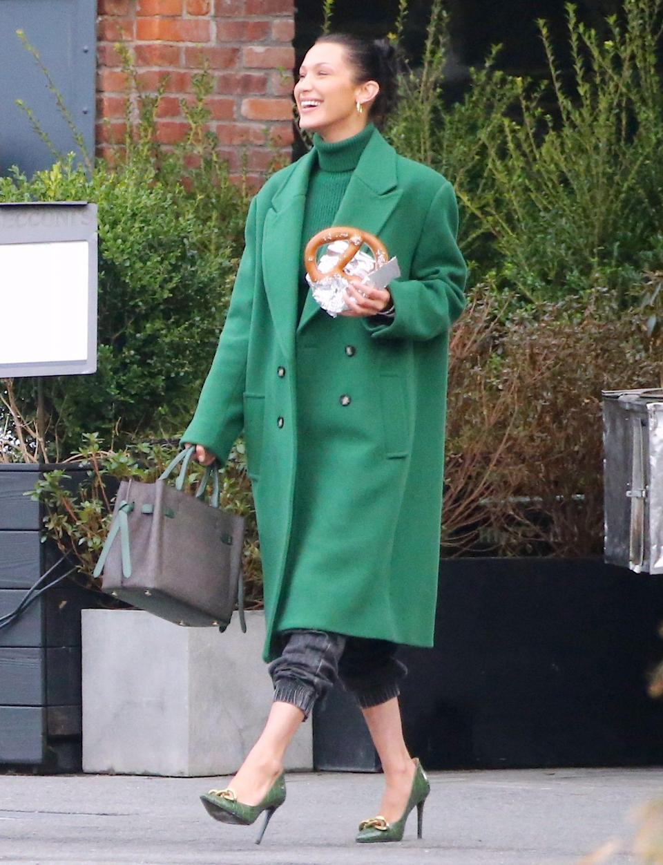 <p>Bella Hadid keeps it light on Friday while shooting a fashion campaign in Brooklyn, New York.</p>