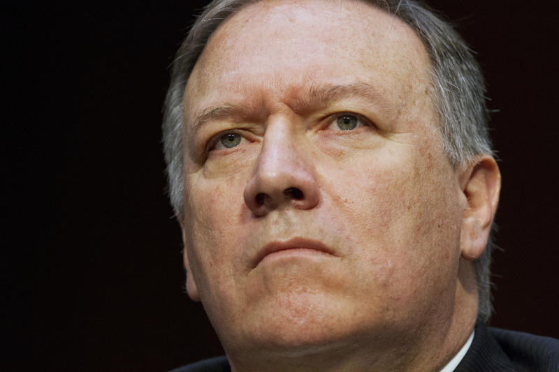 FILE - In the May 11, 2017 file photo, CIA Director Mike Pompeo listens while testifying on Capitol Hill in Washington. Trump ousted Rex Tillerson as secretary of state Tuesday, making a surprise Twitter announcement that he's naming CIA director Mike Pompeo to replace him. (AP Photo/Jacquelyn Martin, File)