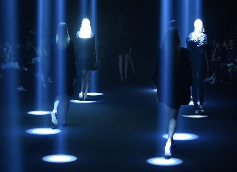 Models display a collection by Japanese designer Motohiro Tanji on the first day of Tokyo Fashion Week