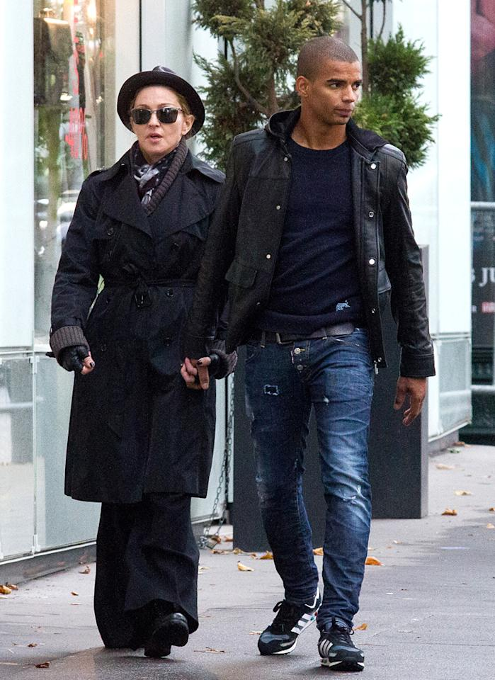 "Madonna – who's known for flings with men of all ages – is currently cozied up to a French break dancer in his mid-20s. The 54-year-old ""Vogue"" singer's boyfriend, Brahim Zaibat, talked a little about his famous girlfriend in an interview published on Socialite Life just three months after they began dating in September 2010. When asked if he was a big fan of Madge's music when he growing up, Zaibat said, ""It wasn't the kind of sound I had on my iPod but I knew her tracks,"" he said. ""I've since pretty much listened to all she's done. She's put lots of breakdance and hip-hop in her last tracks and she's passionate about dance. Her dream as a child was to become a dancer. That's another thing we have in common."" One thing they don't have in common? The iPod didn't come out until Madonna was in her 40s. (7/11/2012)"