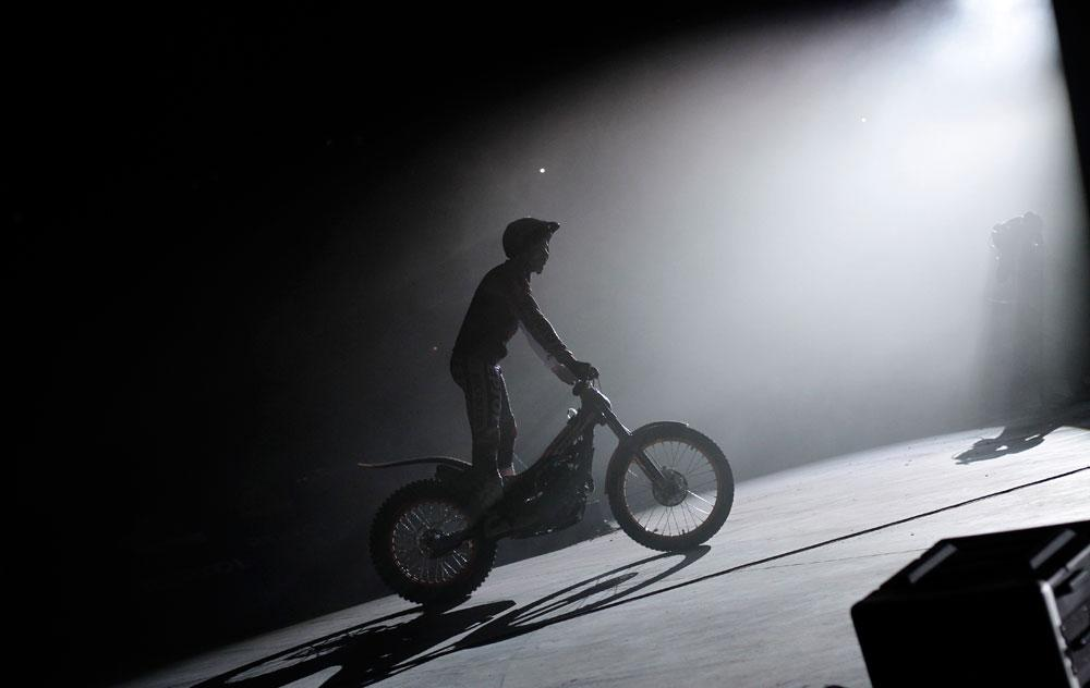 XTrial World Champion Toni Bou rides his bike during the presentation of the Repsol Honda Moto GP Team at the 'Palacio de los Deportes' in Madrid, Spain on Saturday, March 3, 2012.