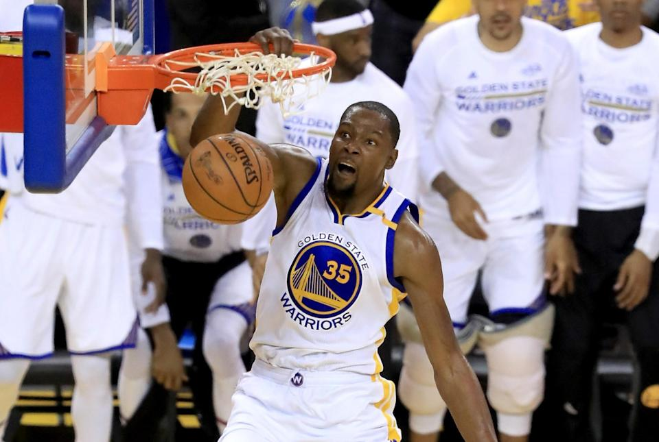 Kevin Durant did pretty much what he wanted in Game 1 with 38 points, eight assists, eight rebounds and no turnovers. (Getty)