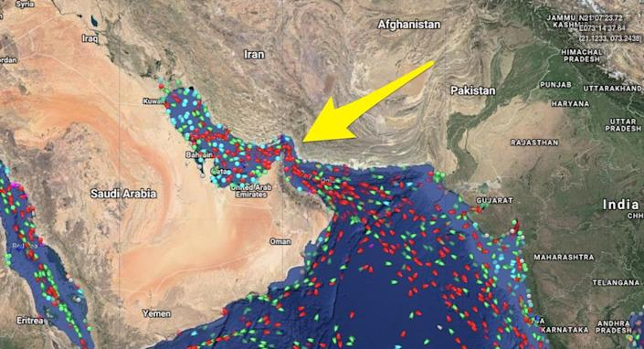 strait of hormuz traffic 5july2019 skitch
