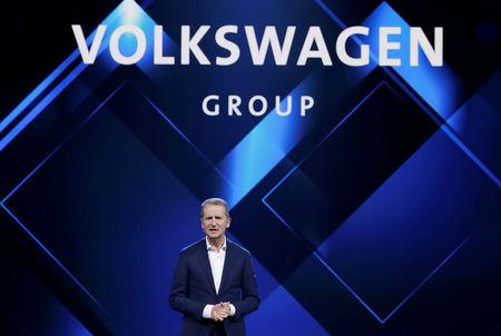 Herbert Diess Volkswagen's new CEO speaks at a Volkswagen Group's media event in Beijing
