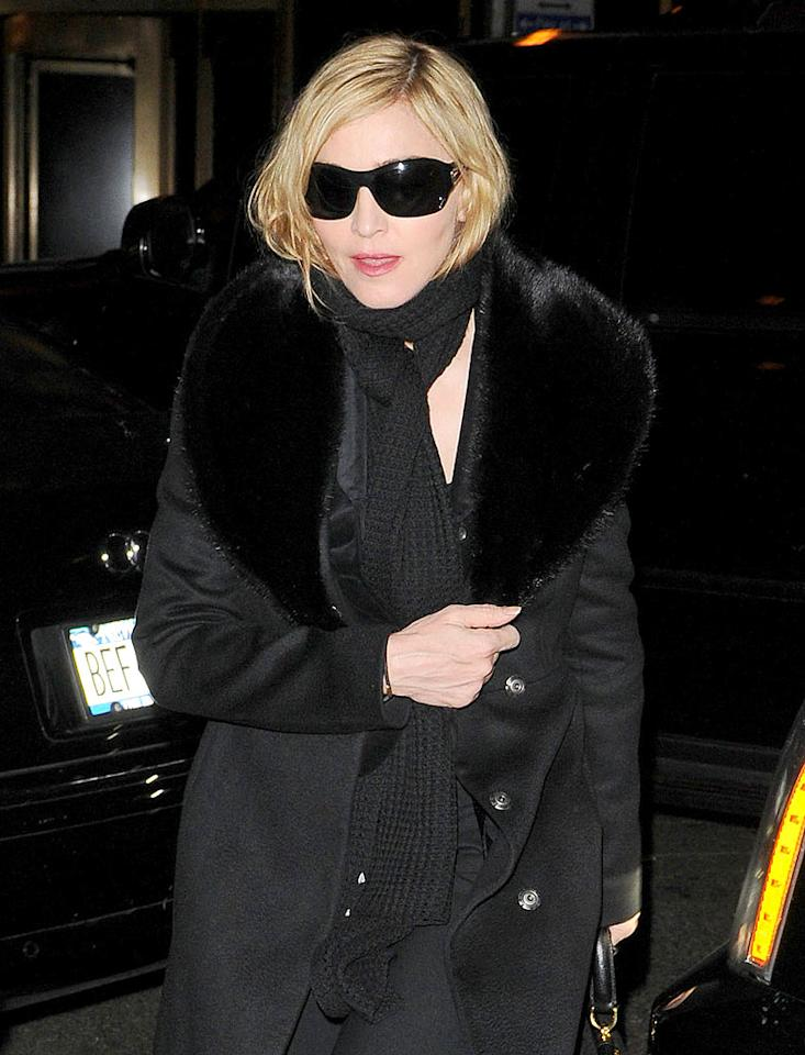 "According to HollywoodLife, exes Madonna and Sean Penn recently shared a romantic three-and-a-half-hour dinner at the New York restaurant Ardour. While it's true they both were at the same place, they did not eat together. <a href=""http://www.gossipcop.com/madonna-sean-penn-did-not-share-romantic-dinner-as-reported-elsewhere/"" target=""new"">Gossip Cop</a> has the full restaurant dish. Asadorian-Mejia/<a href=""http://www.splashnewsonline.com/"" target=""new"">Splash News</a> - January 7, 2010"