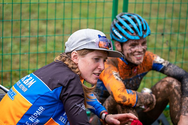 Brenna Wrye-Simpson talks to her riders after the race