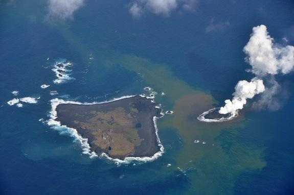 Baby Volcanic Island Eats Its Older Neighbor