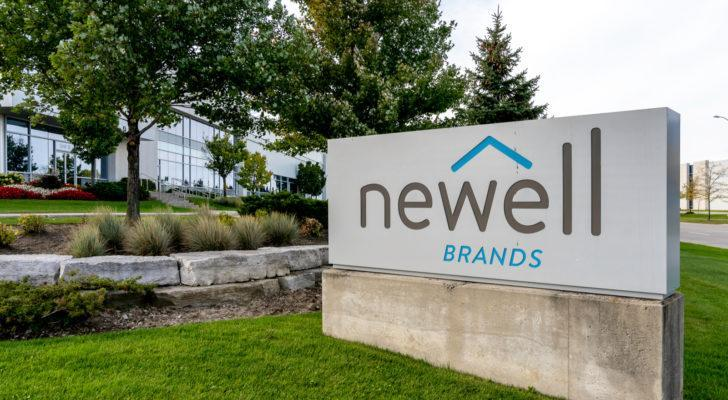 A photo of a sign showing the Newell Brands (NWL) logo outside a building.