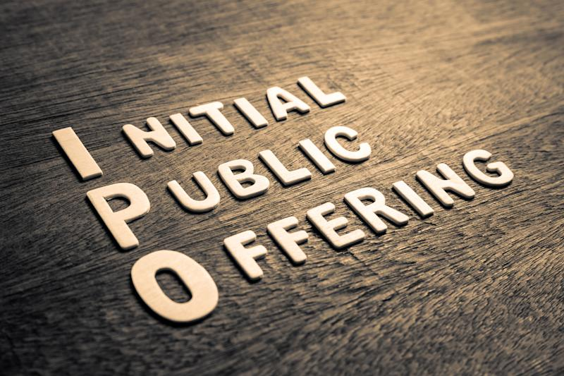 Wooden letters spelling out Initial Public Offering