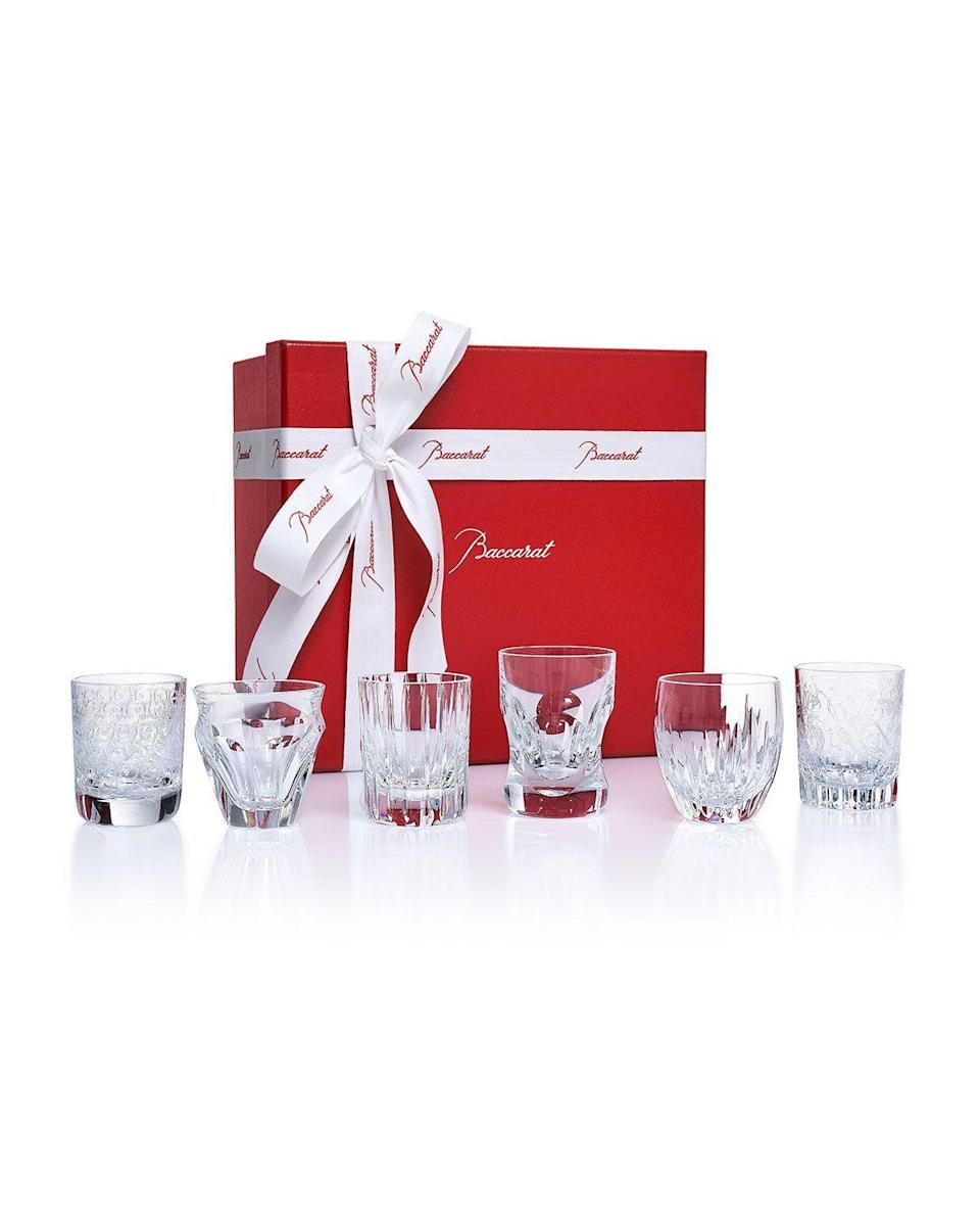 """<p><strong>Baccarat</strong></p><p>https://www.neimanmarcus.com</p><p><strong>$650.00</strong></p><p><a href=""""https://go.redirectingat.com?id=74968X1596630&url=https%3A%2F%2Fwww.neimanmarcus.com%2Fp%2Fbaccarat-everyday-shot-glasses-prod220220455&sref=https%3A%2F%2Fwww.elledecor.com%2Fshopping%2Fhome-accessories%2Fg36133191%2Fbest-barware-oscars-2021%2F"""" rel=""""nofollow noopener"""" target=""""_blank"""" data-ylk=""""slk:Shop Now"""" class=""""link rapid-noclick-resp"""">Shop Now</a></p><p>Shot glasses are great for after-dinner aperitifs. This assortment from Baccarat will let each of your guests choose their own design. </p>"""