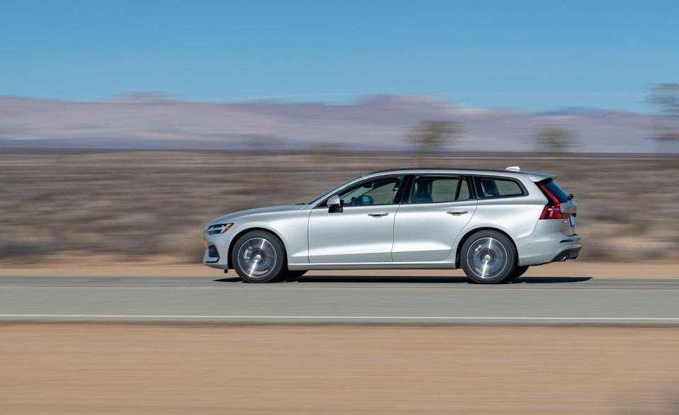 """<p>Its chassis uses a multilink rear suspension with a single transverse leaf spring and is tuned on the firm side of compliant, but the ride is supple compared with that of <a href=""""https://www.caranddriver.com/reviews/a26145842/2019-volvo-s60-t6-by-the-numbers/"""" rel=""""nofollow noopener"""" target=""""_blank"""" data-ylk=""""slk:the T6 model"""" class=""""link rapid-noclick-resp"""">the T6 model</a>, which can be had with adaptive dampers and 19-inch Pirellis. Response from its brake pedal is also firm and reassuring, though the 177-foot stop from 70 mph is long compared with the V60's peers'.</p>"""