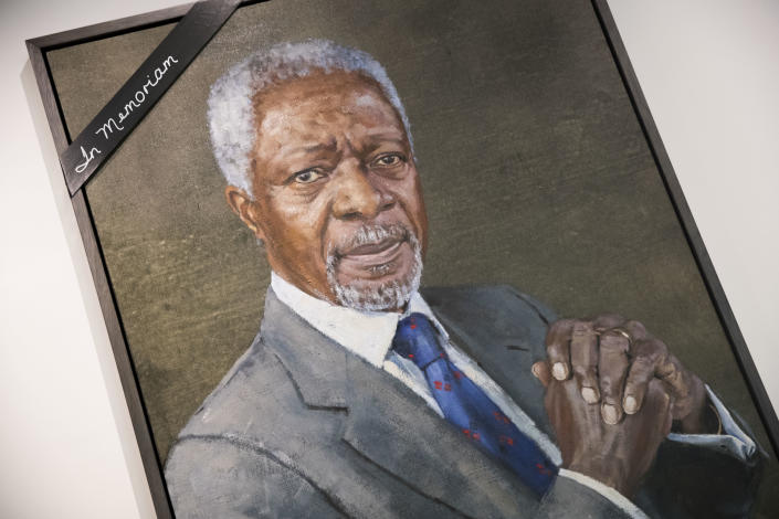 A black ribbon adorns the portrait of former United Nations Secretary-General Kofi Annan at U.N. headquarters, Saturday, Aug. 18, 2018. Annan, one of the world's most celebrated diplomats and a charismatic symbol of the United Nations who rose through its ranks to become the first black African secretary-general, has died. He was 80. (AP Photo/Mary Altaffer)