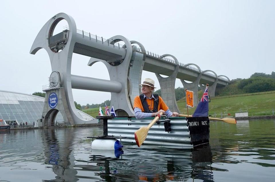 The retired Army officer visited the Falkirk Wheel while in Scotland (Andrew Milligan/PA) (PA Wire)