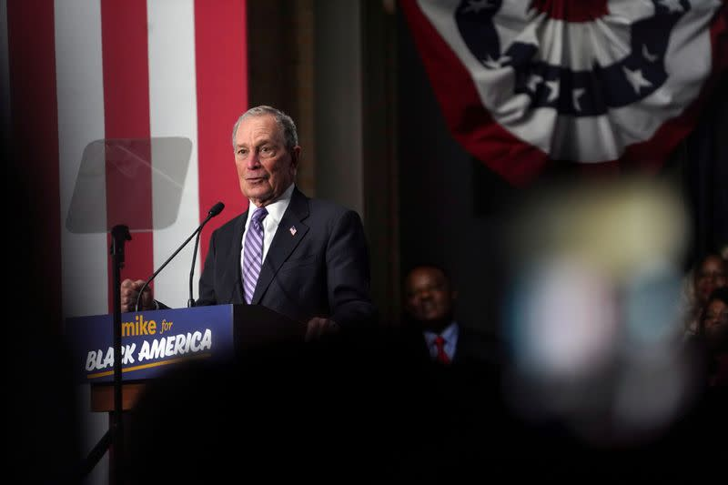 FILE PHOTO: Democratic presidential candidate Michael Bloomberg attends a campaign event at Buffalo Soldiers national museum Houston