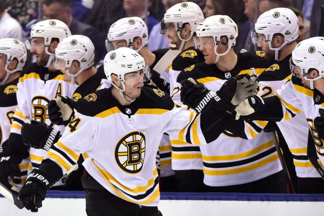 Boston Bruins left wing Jake DeBrusk (74) celebrates his goal against the Toronto Maple Leafs during the second period of game six of an NHL round one playoff hockey game in Toronto on Monday, April 23, 2018. (Frank Gunn/The Canadian Press via AP)